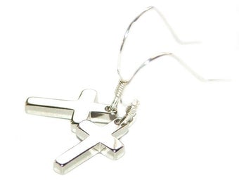 Tiny Silver Crosses with Sterling Silver Ear Wires, Simple Christian Jewelry