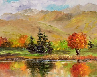 TRANQUIL Framed Original Oil Painting Art Country Mountains Scenic Lake Fall Autumn Rustic Land Red Orange Leaves Pine Trees Aspen Peaceful