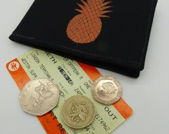 Oyster card holder, bus pass holder, travel card holder, wallet. Copper foil pineapple. Card wallet, Oyster card wallet, card holder.