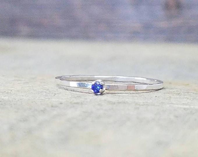 Tanzanite Gemstone Stacking Ring Sterling Silver Prong Set Facet