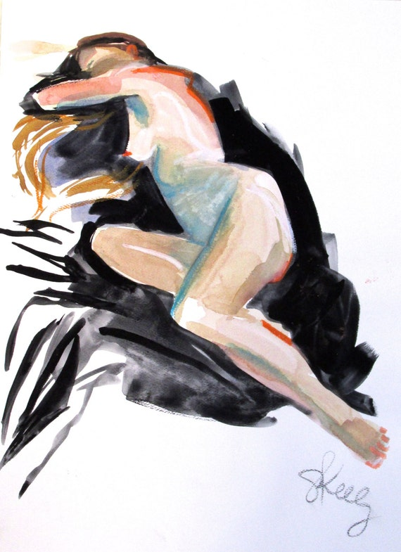 Nude painting- Original watercolor painting of Nude #1366 by Gretchen Kelly