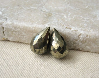 Faceted Pyrite Gemstone Briolette Beads 11.75x7mm - Matched Gemstone Pair
