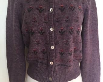 Sweet Vintage Tyrolian Lilac Cardigan