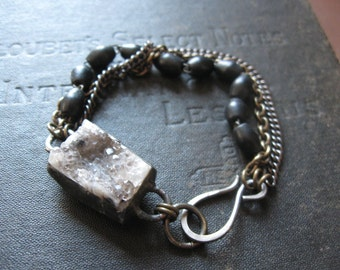 Druzy Quartz Crystal Bracelet with Chain and Black Rosary Beads