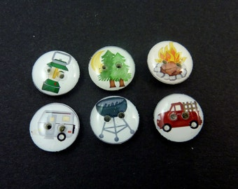 "6 SMALL Camping Themed Handmade Buttons for Sewing. 1/2"" or 13 mm. Camper Trailer Buttons. Handmade By Me.  Washer and Dryer Safe."