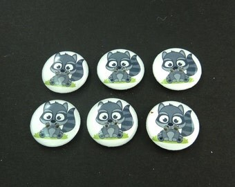 "6 Handmade Raccoon Buttons.  3/4"" or 20 mm Sewing Buttons.  Novelty Buttons.  Woodland animal buttons for sewing. Washer and Dryer Safe."