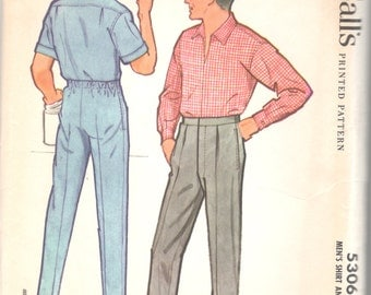 McCalls 5306 1950s Mens Mens Pullover Yoked Shirt and Slacks Pattern Adult Vintage Sewing Pattern Chest 36 UNCUT