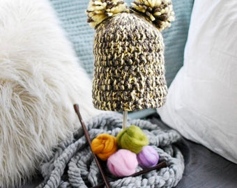 Thick Warm Double Pompom Hat