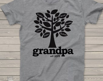 Grandpa shirt - family tree grandpa established t-shirt personalized with multiple grandkid names - great Father's Day gift  MDF1-036