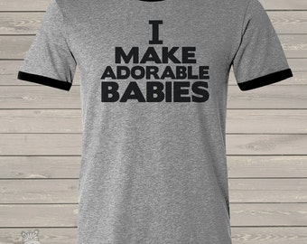 Dad shirt - ORIGINAL design I make adorable babies® custom ringer style t-shirt - best new dad Father's Day gift MDF1-001