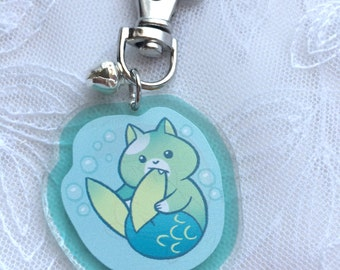 Cute Cat Mermaid Acrylic Charm Keychain