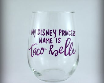 Taco Belle fun wine glass hand painted