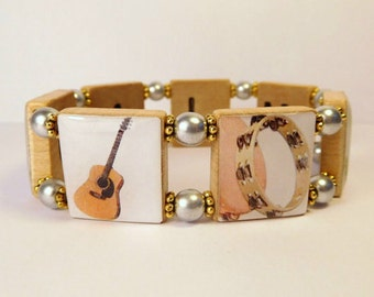 MUSICAL INSTRUMENT Bracelet / Band - Music - Musician / SCRABBLE / Handmade Jewelry / Unusual Gifts