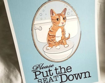 Put the Seat Down Orange Cat - Eco-Friendly 8x10 Print