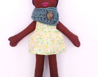 Cloth Doll African American Rag Doll -Ready To Ship Fabric Doll  Soft Doll Easter Doll Gifts Under 75 Ethnic Doll Black Doll