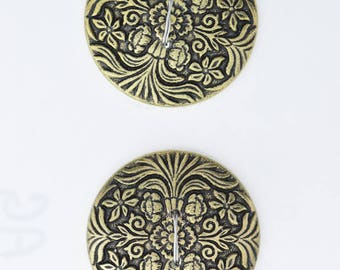 Button set of 4 , 2 hole , Plated plastic , Antique Gold finish , sold 4 each OB9511AG
