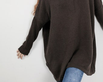 OVERSIZED knit Woman sweater/ Knit sweater kimono sleeve Brown pullover wool sweater