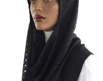 Koul SHôl™ Head Hoodie Black Cowl Hoodie Sweater Knit Weave Lined Hoodie Veil Devotional Head Hoodie Hijab Hoodie Handmade