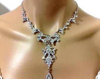 Statement Wedding Necklace, Chandelier Bridal Necklace, Victorian Wedding Jewelry, Crystal Bridal Necklace, Pearl Drop Necklace, ARMANIA