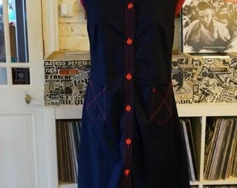 vintage 70s sleeveless dress navy blue shirtdress red topstitch stitching 1970s