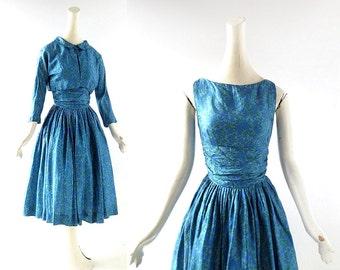 1950s Silk Dress | Le Jardin Bleu | 50s Dress with Jacket | XXS XS