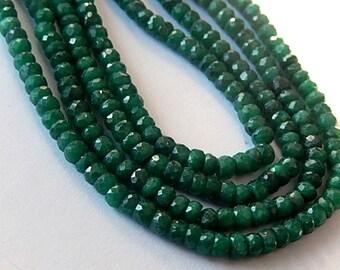 Emerald Gemstone. Precious Gemstone Bead. Faceted Emerald  Rondelle 4mm. Green Emerald. Your Choice Strand.  (aem4)