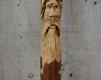 Walking Stick, Wood Spirit Walking Stick Carving, Hand Carved Wizard Hiking Stick, Mountain Man Wood Carvers of Etsy, 1532