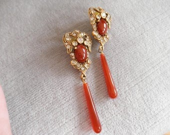 Vintage Baroque Style Earrings with Fabulous Red Carnelian Drops