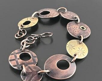 Mixed Metal Bracelet Handmade Jewelry Chain Link Bracelet Copper Jewelry Artisan Jewelry Copper Bracelet Jewelry Wire Wrap Bracelet