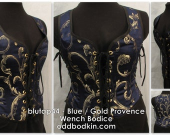 Odd Bodkin Wench Bodice in Blue Gold Provence - Made to Order - blutap44