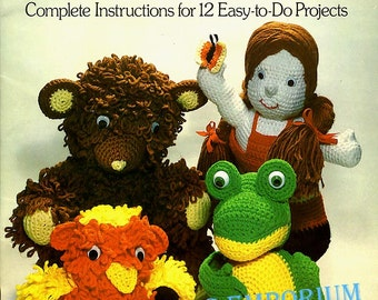 Crocheted Toys And Dolls Full Size Vintage Pattern Book 1978 12 Adorable Stuffed Animals & Dolls by Susan Verkest Great Gift Ideas