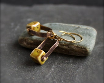 Rustic Mustard Ceramic Cube Earrings - Oxidized Brass, Riveted Arch Dangle, Metalwork Jewellery