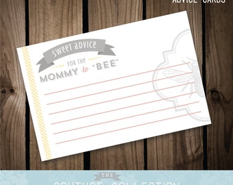 """Advice Cards - Mommy to """"BEE"""" Baby Shower  -  Pink and Yellow - Printable DIY Digital File"""