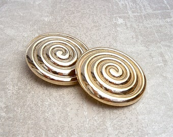 Gold Spiral Buttons - CHOOSE 37mm 1-1/2 inch, 50mm 2 inch - VTG Large Shiny Gold Swirl Buttons - NOS Huge Spiral Plastic Shank Buttons PL624