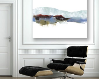 Minimalist Abstract Landscape Canvas Print, Mountain Art, Snowy, Red White Blue Art, America's Mountains, Cabin Lodge, American Art, Rustic