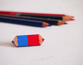 Red and blue pencil brooch, handpainted wooden pin for teacher
