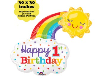 "30"" Balloon 1st Birthday Rainbow - First Birthday Decorations Rainbow Happy Birthday Balloon First Birthday Photo Prop Large Foil Mylar Sun"