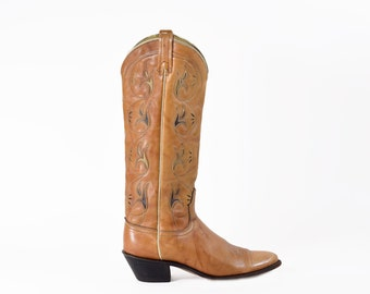Cowgirl Boots TALL Knee High Vintage Light Brown Western Rocker Boho Leather Cowboy Boots Size 8.5/9