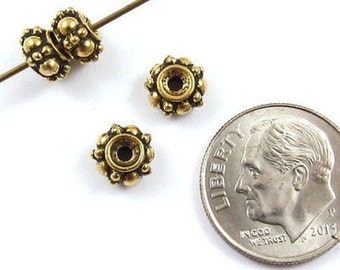 TierraCast Pewter Beads-Antique Gold TURKISH SPACER 7mm (4)