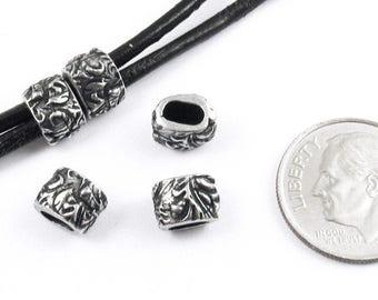 TierraCast Leather Crimp Beads-Pewter JARDIN BARREL ID 4X2mm (5)