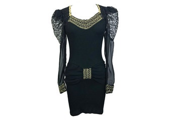 Vintage 80s 90s Black Stretch Bandage Mini Dress w/ Lace Shoulders & Gold Trim Party Dress XS/S