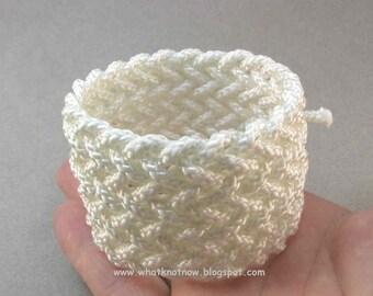 wide herringbone rope bracelet knotted nautical style bracelet adjustable bracelet white nylon rope jewelry 2768