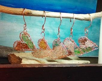 Sea glass heart ornament - Copper sea glass Christmas tree ornament - Lake Michigan beach glass sun catcher - rear view mirror charm