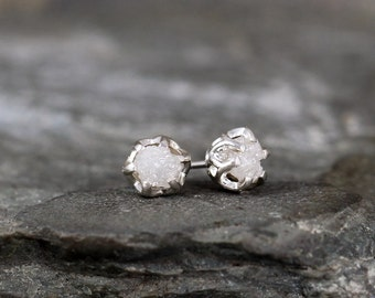 1 Carat Raw Diamond Earrings - Sterling Silver Vintage Inspired - Stud Earring - April Birthstone - Uncut Gemstone - Conflict Free Diamonds