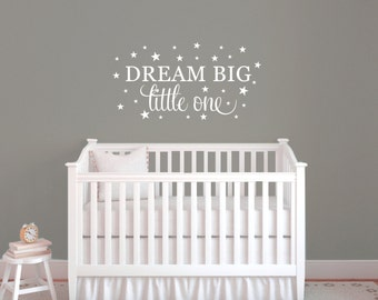 Dream big wall decal quote, Wall sticker quote, Nursery wall decal, Wall sticker for bedroom, Word art for walls, Vinyl wall saying DB434