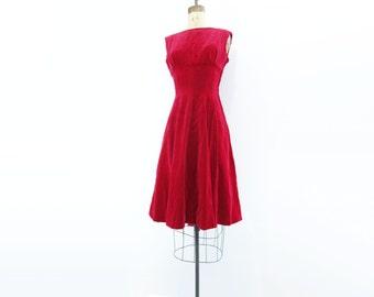 Red Velvet Dress Vintage Velvet Dress 50s Red Party Dress 1950s Party Dress Holiday Party Dress 50s Red Velvet Dress Raspberry Red s