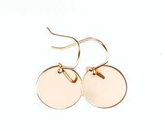 Rose gold earrings, rose gold disc earrings, simple earrings, minimalist earrings, rose gold circle earrings, rose gold jewelry