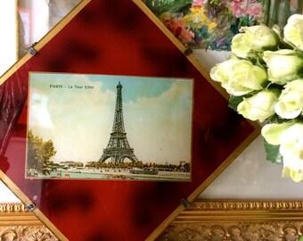VINTAGE PARIS PICTURE, vintage Paris postcard, gold picture border, La Tour Eiffel postcard, vintage Paris souvenir, crimson background,
