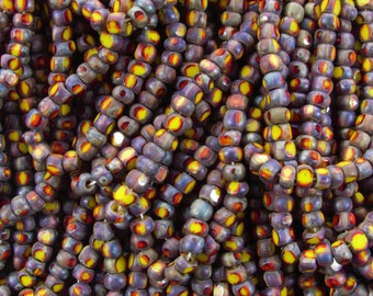 6/0 3 Cut Opaque 2 Tone Yellow and Red Picasso Firepolish Czech Glass Seed Bead Strand (DW145)