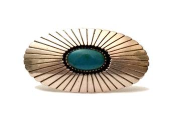 Navajo Sterling & Turquoise Brooch, Antique Signed GB Sterling Brooch Navajo Turquoise Jewelry, Native American Sterling Silver George Begay